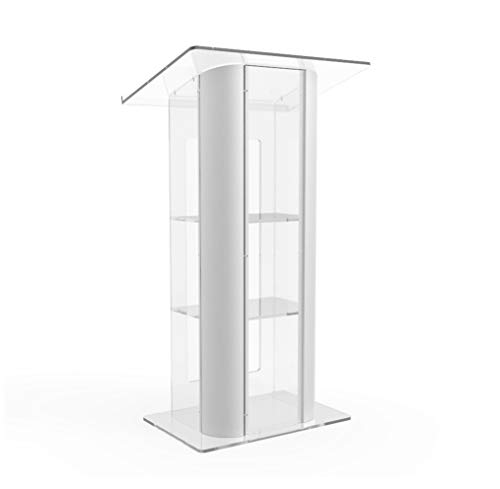 FixtureDisplays Clear Acrylic Plexiglass Podium Curved Brushed Stainless Steel Sides Pulpit Lectern 14307 ()