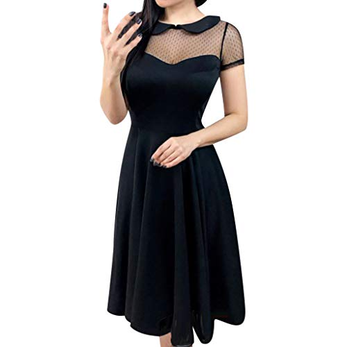 ⚡HebeTop⚡ Ladies Summer Fashion Dress Sexy Lace Waist Solid Color Dress Black