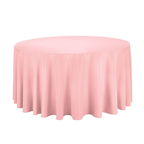 Pink Elegance Tablecloth (LinenTablecloth 120-Inch Round Polyester Tablecloth Pink)