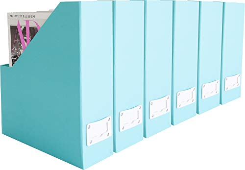 Blu Monaco Foldable Aqua Magazine File Holder with Leather Label Holder â Set of 6 â Cardboard Magazine File Boxes Desk File Organizer