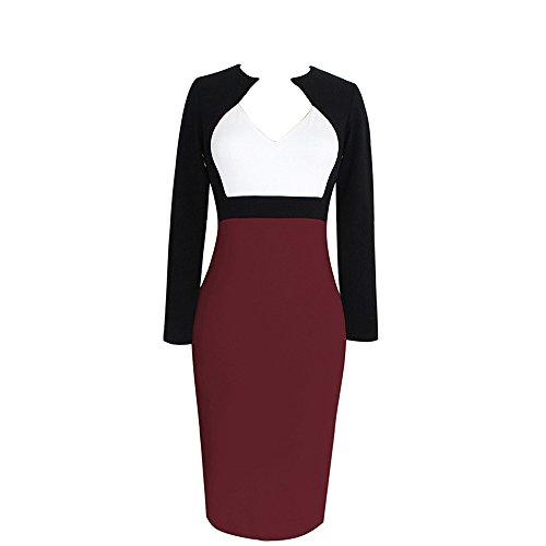 Dreaweet Women's Long Sleeve Bodycon Office OL V-neck Causal Sheath Pencil Dress (Cheap Fancy Dress Outfits)