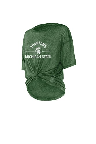 Michigan State Ladies T-shirt - chicka-d NCAA Officially Licensed Michigan State University Ladies Boyfriend Knot Tee/T-Shirt/Short Sleeve - MSU Spartans Women's Apparel
