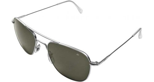 AO Original Pilot Sunglasses, Wire Spatula, Matte Chrome Frame, Green Glass Lenses, - 55mm Sunglasses Ao