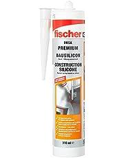 fischer Bausilicon DBSA, geurarme premium silicone, weerbestendige afdichtmassa voor binnen en buiten, patroon voor talrijke toepassingen en bouwmaterialen, 310 ml, wit