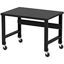 Borroughs Adjustable Height Black Painted Steel Top Workbench with Caster Kit, 34 inches x 48 inches