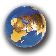 - Blue Earth Marble With 22k Gold Continents, Recycled Glass, Half Inch Diameter