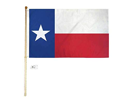 Ant Enterprises 5 Foot Wooden Flag Pole Kit Wall Mount Bracket with 3x5 Texas State House Flag ()