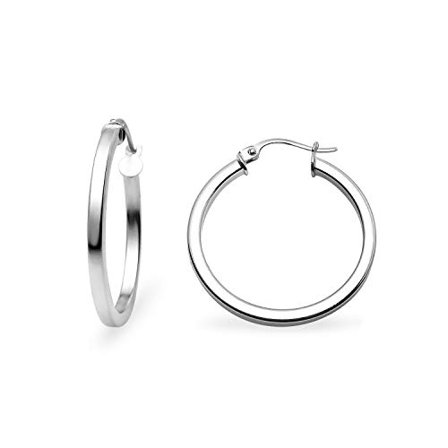 - Sea of Ice Sterling Silver Polished Finish 2mm Square-Tube Hoop Earrings for Women (25mm - 1