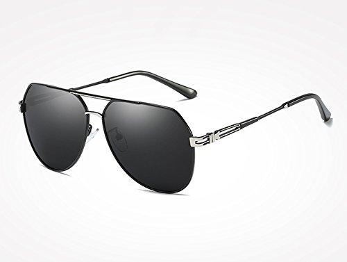 Accessoires Vintage Soleil Hommes de Sunglasses Lunettes Hommes black silver Lunettes Froid gray Teintes Lunettes Polarisé TL vq4BfU