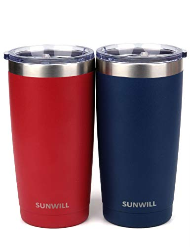 SUNWILL 20oz Tumbler with Lid (Navy Blue & Wine Red 2 pack), Stainless Steel Vacuum Insulated Double Wall Travel Tumbler, Durable Insulated Coffee Mug, Thermal Cup with Splash Proof Sliding Lid