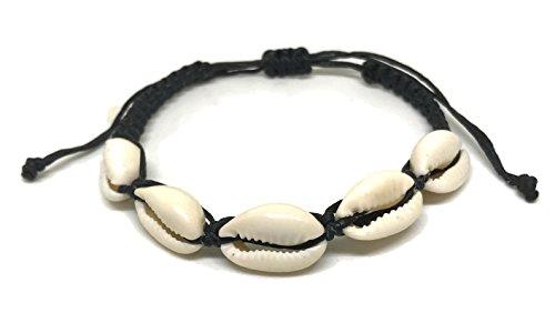 Cowrie Hawaiian Natural Shell Bead Bracelet Genuine Leather Stretch Chip Reggae Jamaican for Women (Black - Bracelet)