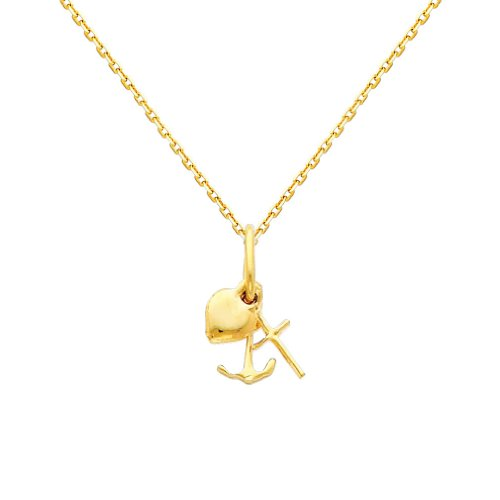 Pendant Charm Charity - Wellingsale 14k Yellow Gold Polished Faith, Hope, and Charity Charm Pendant with 0.9mm Oval Angled Cut Cable Chain Necklace - 16