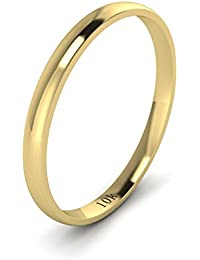 Solid 10k White Rose Yellow Gold 2mm Light Court Shape Comfort Fit Polished Wedding Ring Plain Band