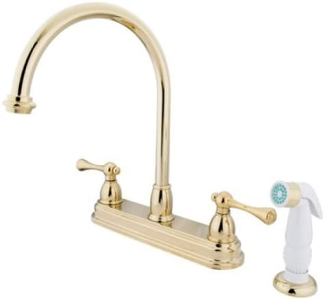 Kingston Brass KB3752BL Vintage 8 Centerset Kitchen Faucet with Plastic Sprayer, Polished Brass