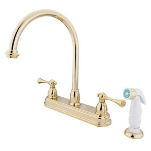 "Kingston Brass KB3752BL Vintage 8"" Centerset Kitchen Faucet with Plastic Sprayer, Polished Brass"