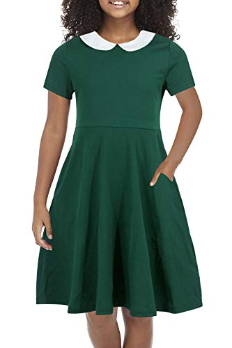 Gorlya Girl's Short Sleeve Casual Vintage Peter Pan Collar Fit and Flare Skater Party Dress with Pockets 4-12 Years (GOR1006, 11-12Y, Green Color) -