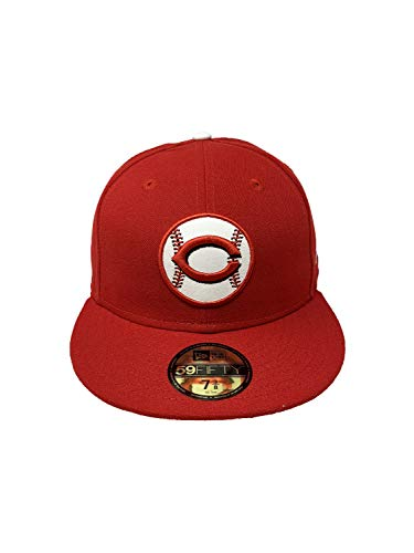 New Era Cincinnati Reds White Leather Baseball Embossed Logo 59Fifty Fitted Hat Straight Brim Cap Red (7 3/8, Red/White Leather Baseball)