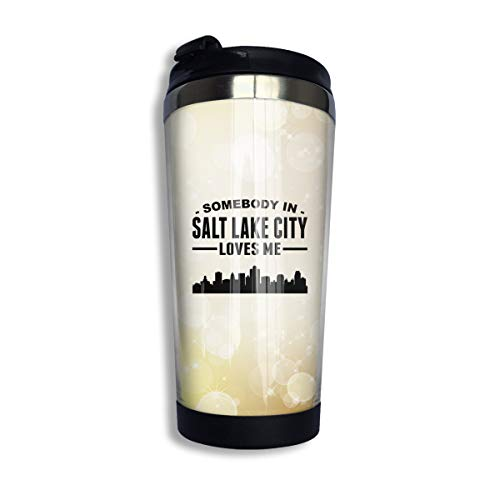 Arsmt Somebody in Salt Lake City Loves Me 13.5oz Stainless Steel Coffee Mugs Insulated Thermos -