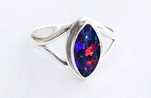 925 Sterling Silver Multi Color Brown Fire Opal Ring - Opal Stone Girl Women Gift Ring Size 5 6 7 8 9 10 11 12 13