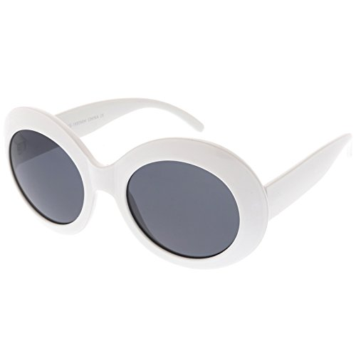 sunglassLA - Large Oversize Chunky Oval Sunglasses Wide Arms Neutral Colored Lens 55mm (White / - Sunglasses Bugeye