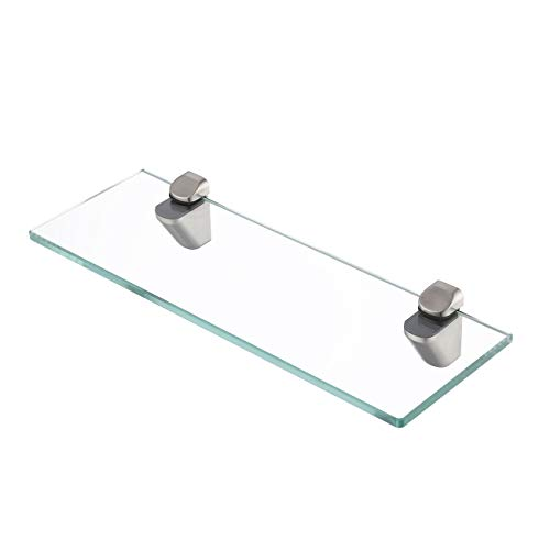 KES 14-Inch Bathroom Tempered Glass Shelf 8MM-Thick Wall Mount Rectangular, Brushed Nickel Bracket, BGS3202S35-2 (Shelf Brushed Nickel Vanity)