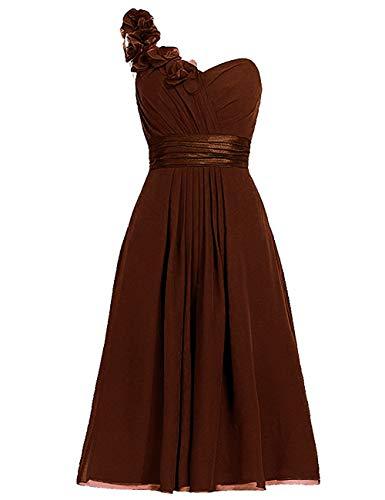 - One Shoulder Bridesmaid Dresses Short Prom Evening Dress Floral Chocolate 4