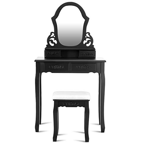 Giantex Vanity Table Set with Mirror for Makeup Modern Cushioned Bench Stool Bedroom Wood Style Furniture Top Removable Multifunctional Writing Desk Dressing Tables for Girls (Black, 4 Drawers)