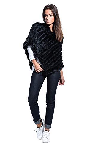 Femme En Univers Luxe Fourrure Poncho Du Vicky Noir Wx4TRF