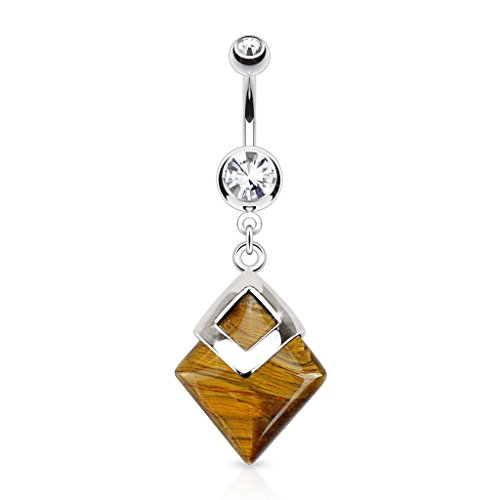 Dynamique Tiger Eyes Diamond Shaped Semi Precious Stone Mounted 316L Surgical Steel Belly Button Ring
