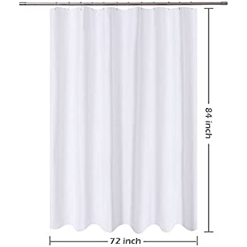 Amazon.com: N&Y HOME Fabric Shower Curtain Liner White Extra Long 72 ...