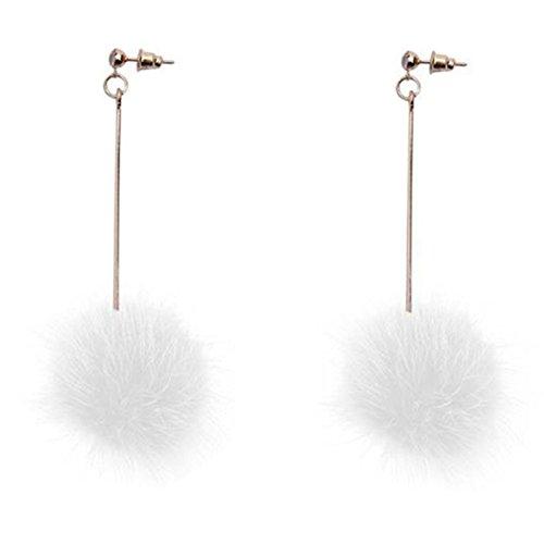 18K Gold Plated Grey/White Mink fur Big Plush ball ear line threader Women Long Tassel Stud Earrings