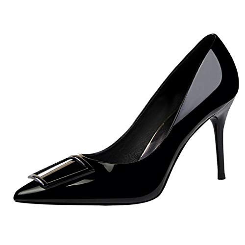 (Drew Toby Women Pumps Simple Fashion Ol Patent Leather Shallow Mouth Pointed High Heels)