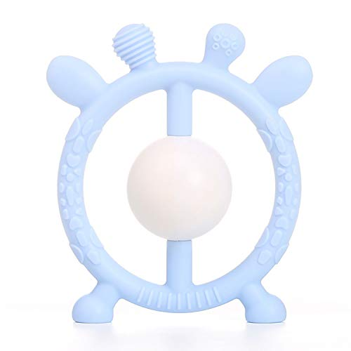 Baby Teether Toys, Baby Rattle Teethers, Silicone BPA-Free Non-Toxic, Soft, Durable for Sore Gums Pain Relief Toddlers Infant Development