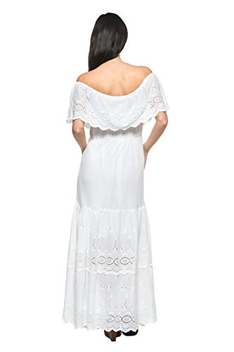 Women s White Eyelet Ruffle Off Shoulder Mexican Peasant Boho Long Maxi  Dress - Delocus Store 15ef3712f