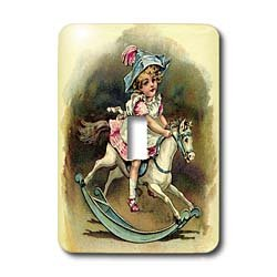 3dRose lsp/_34767/_1 Sweet Girl On Rocking Horse Toggle Switch Multi-Color