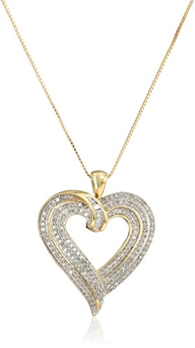 Jewelili 10kt Yellow Gold 1/2cttw Baguette and Round Diamond Heart Pendant Necklace, 18