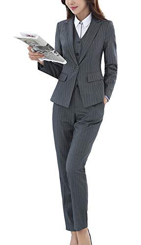 (LISUEYNE Women's Three Pieces Office Lady Stripe Blazer Business Suit Set Women Suits Work Skirt/Pant,Vest Jacket )