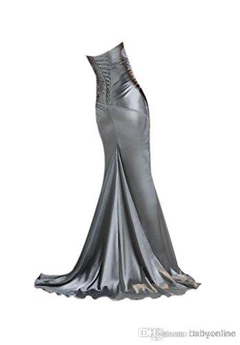 Weinrot Zusammenarbeit Mermaid Trägerlos Damen Perlen emmani mit Ballkleid WI0US