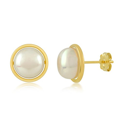 14K Yellow Gold 8MM White Button Shape Cultured Freshwater Pearl Stud Earrings -