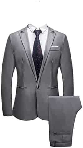 0693d4393939 Realdo Mens 2 Pieces Suit,Mens Slim Fit One Button Business Wedding Banquet  Blazer &