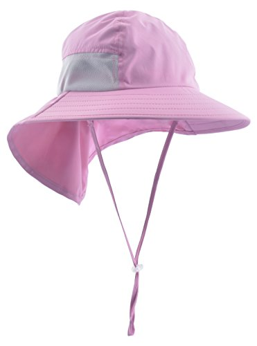 Lenikis Kids Outdoor Activities UV Protecting Sun Hats with Neck Flap Pink by Lenikis (Image #3)