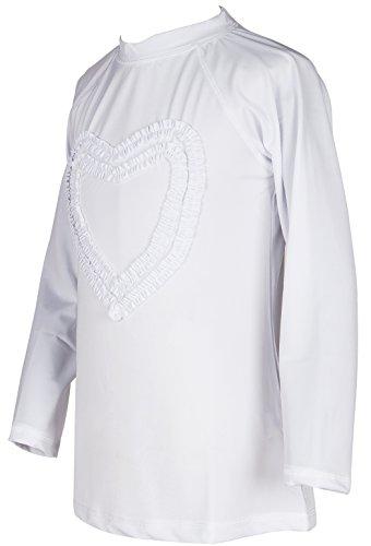 Girls' Ruffled Valentine Solid Rash Guard Swim Shirts UPF 50+ Sun Protective (12, White Long) by Holy Unicorn (Image #1)