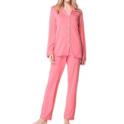 Nightgowns for Women Plus Size Sleepwear for Women Women's Long Sleeve Pants Pajamas Button Lapel Underwear Set Negligee Floral Trim Costumes Bustiers Hot Pink ()