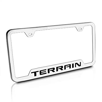 gmc terrain brushed stainless steel auto license plate frame