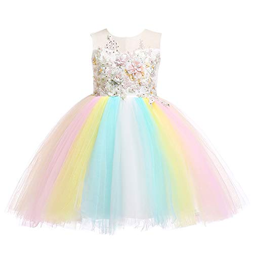 Weileenice 6M-12Y Kids Costume Cosplay Dress Girl Rainbow Tulle Dress with 3D Embroidery Beading Baby Girls Princess Dress (9-10Years, Ivory + Rainbow) ()