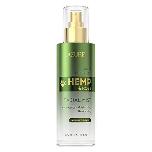 AZURE Hemp & Rose Ultra Nourishing Face Mist Toner – Anti Aging, Moisturizing & Revitalizing | W/Vitamins & Antioxidants…