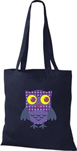 Retro Tiras Colores De Lunares Diversos Color Con Azul Cuadros Bolsa Owl Bonitos Búho Yute Tela Shirtinstyle HI7A4vqv