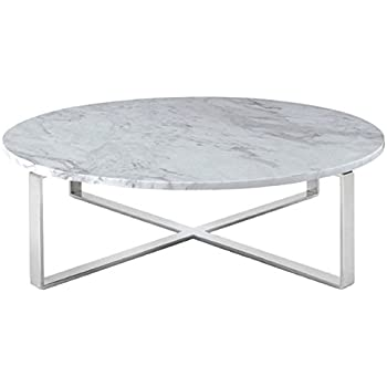 Rosa Round Marble Top Coffee Table With Polished Stainless Steel Base