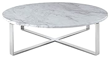 Amazoncom Rosa Round Marble Top Coffee Table with Polished
