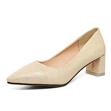 Talones de las mujeres Primavera Verano Otoño Invierno Club de los zapatos de la PU de oficina y carrera del partido y vestido de noche tacón grueso rosa de oro blanco azul claro Gold